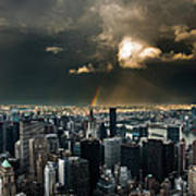 Great Skies Over Manhattan Poster by Hannes Cmarits