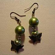 Green Butterfly Earrings Poster by Jenna Green