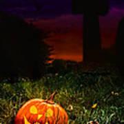 Halloween Cemetery Poster by Amanda Elwell