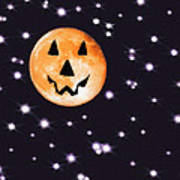 Halloween Night - Moon And Stars Poster by Steve Ohlsen