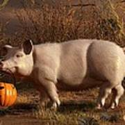 Halloween Pig Poster by Daniel Eskridge