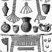 Heinrich Schliemann (1822-1890). German Traveller And Archeologist. Some Of The Antiquities Excavated By Schliemann At Hissarlick, Turkey, Site Of Ancient Troy. Wood Engraving, English, 1877 Poster by Granger