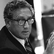 Henry Kissinger In A Meeting Following Poster by Everett