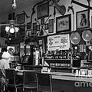 Historic Niles District In California Near Fremont . Bronco Billys Pizza Palace . 7d10707 . Bw Poster by Wingsdomain Art and Photography