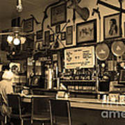 Historic Niles District In California Near Fremont . Bronco Billys Pizza Palace . 7d10707 . Sepia Poster by Wingsdomain Art and Photography