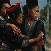 Hmong Girls Cling To Each Other Poster by W.E. Garrett