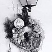 Holiday Basket On Lamp Bw Poster by Linda Phelps