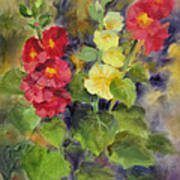 Hollyhocks Poster by Karin  Leonard
