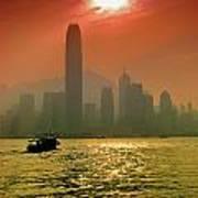 Hong Kong Sunset Poster by Bibhash Chaudhuri