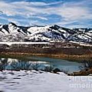 Horsetooth Reservoir Winter Scene Poster by Harry Strharsky