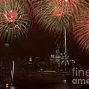 Hudson River Fireworks Xii Poster by Clarence Holmes