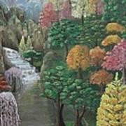 Imagined Autumn In Japan Poster by Ana Maria  Garcia Ruiz