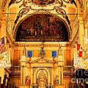 Inside St Louis Cathedral Jackson Square French Quarter New Orleans Ink Outlines Digital Art Poster by Shawn O'Brien