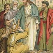 Jesus And The Blind Men Poster by English School