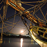 Lady Washington - Moonlight On Coos Bay Poster by Gary Rifkin