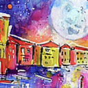 Large Moon Over Venice  Poster by Ginette Callaway
