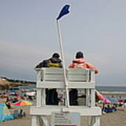 Lifeguards Watch Over The Traditional Poster by Stephen St. John