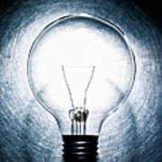 Light Bulb On Stainless Steel Background. Poster by Ballyscanlon