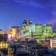 London Skyline At Night Poster by Gregory Warran