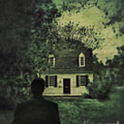 Man In Front Of Cottage Poster by Jill Battaglia
