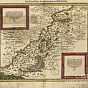 Map Of Palestine, 1588 Poster by Photo Researchers