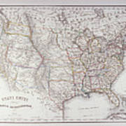 Map Of The Northen United States Poster by Fototeca Storica Nazionale