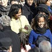 Michelle Obama And Daughters Malia Poster by Everett