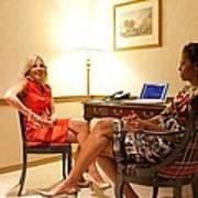 Michelle Obama And Dr. Jill Biden Wait Poster by Everett