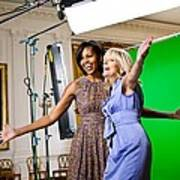 Michelle Obama And Jill Biden Joke Poster by Everett