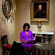 Michelle Obama Prepares Before Speaking Poster by Everett