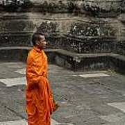 Monk At Ankor Wat Poster by Bob Christopher