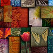 Mosaic Earth Tone Nature Rough Patterns Poster by Angela Waye