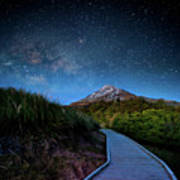 Mt. Ekmond At Night With Starlight Poster by Coolbiere Photograph