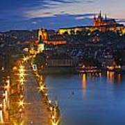 Night Lights Of Charles Bridge Or Poster by Trish Punch