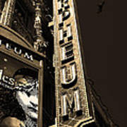 Nightfall At The Orpheum - San Francisco California - 5d17991 - Sepia Poster by Wingsdomain Art and Photography