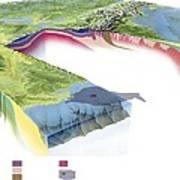 North American Geology And Oil Slick Poster by Gary Hincks