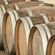 Oak Wine Barrels In Castillion La Bataille, France Poster by Steven Morris Photography