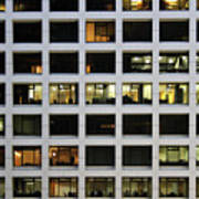 Office Building At Night Poster by Lars Ruecker