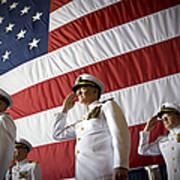 Officers Render Honors During A Change Poster by Stocktrek Images