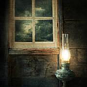 Oil Lamp On Table By Window Poster by Jill Battaglia