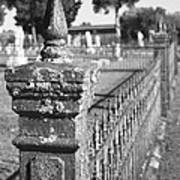 Old Graveyard Fence In Black And White Poster by Kathy Clark