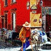 Old Timer With His Burros On Umaran Street Poster by John  Kolenberg