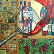 One Glass Too Many  Poster by Debi Starr