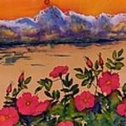 Orange Sun Over Wild Roses Poster by Carolyn Doe