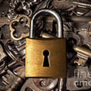 Padlock Over Keys Poster by Carlos Caetano