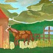 Paint Pony At Red Schoolhouse Poster by Shannon SmithCumiford