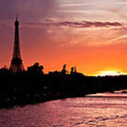 Paris Sunset Poster by Mircea Costina Photography