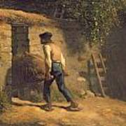 Peasant With A Wheelbarrow Poster by Jean-Francois Millet