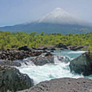 Petrohue Falls And Osorno Volcano Poster by Pcontreras