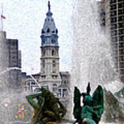 Philadelphia Fountain Poster by Bill Cannon